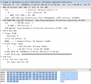 Captured R-APS frame in Wireshark