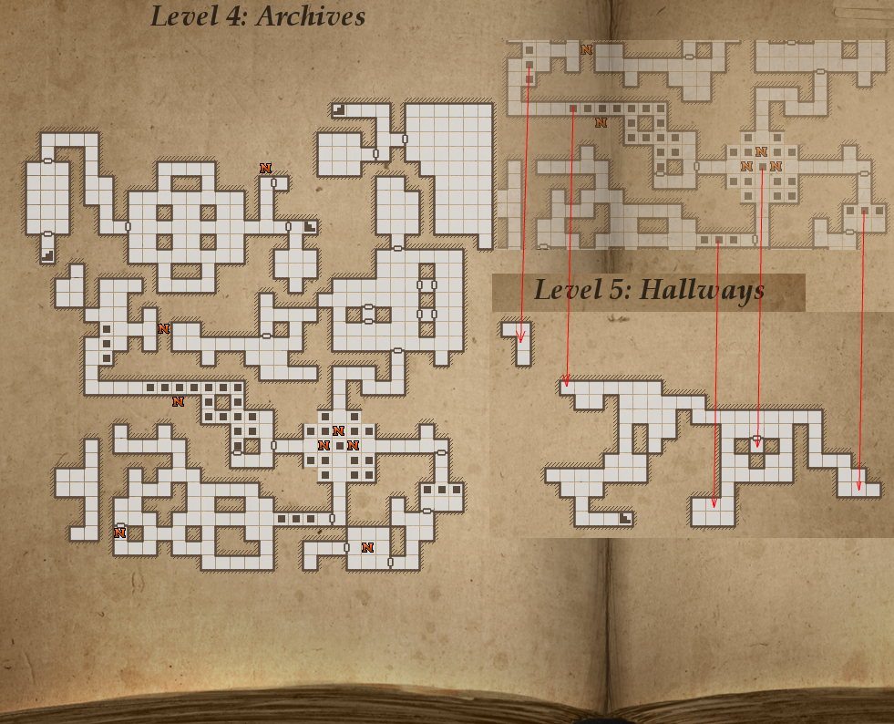 Legend of Grimrock level 4 map (Archives)