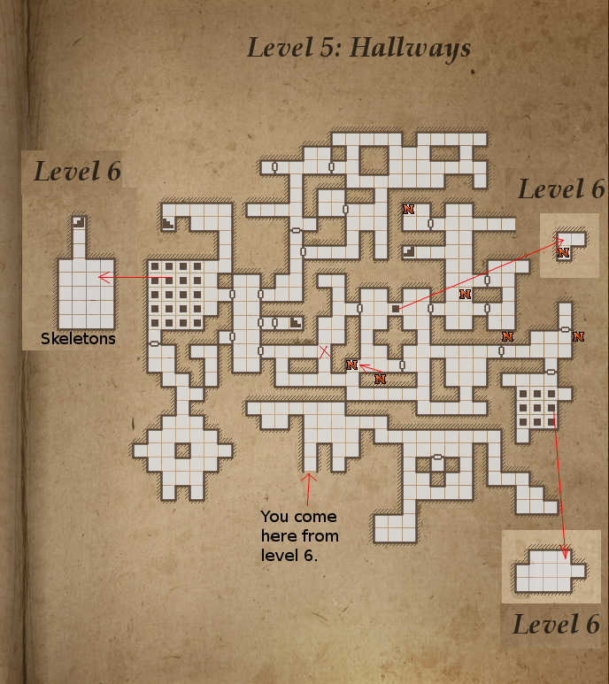 Legends of Grimrock level 5 map