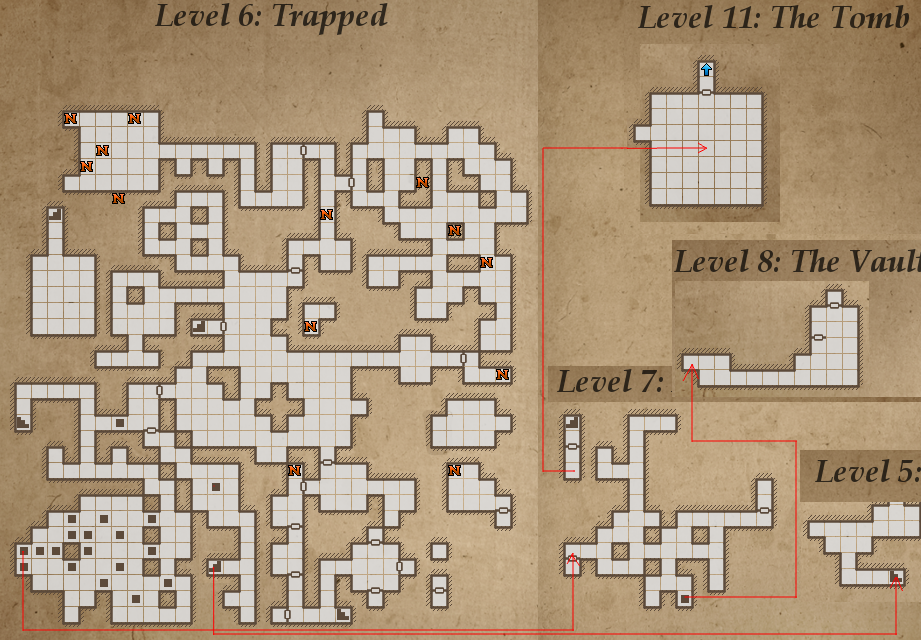 Legend of Grimrock, level 6 map.