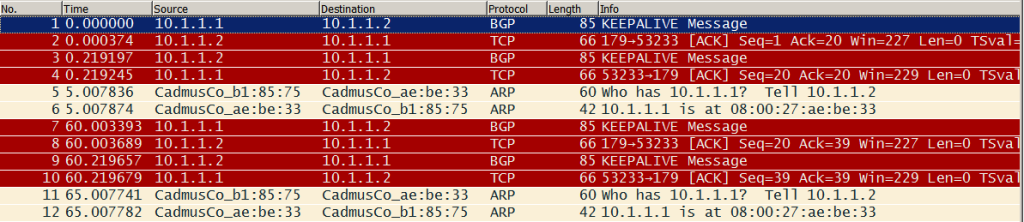 BGP keepalives in Wireshark
